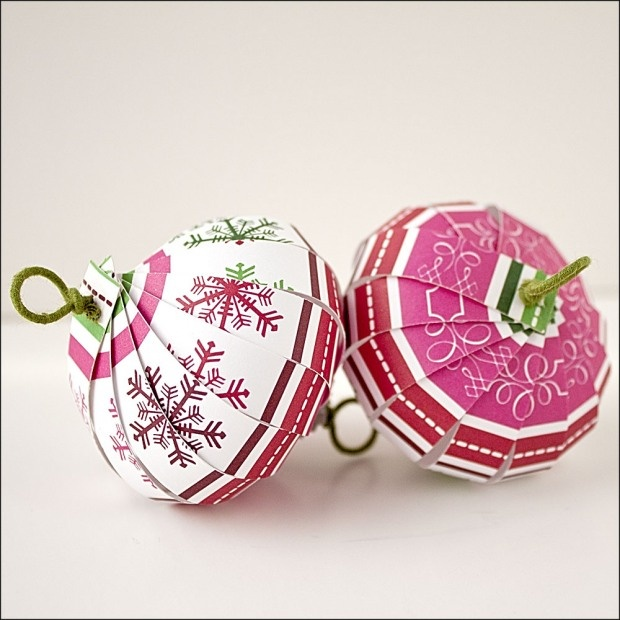 Paper Christmas ornaments.