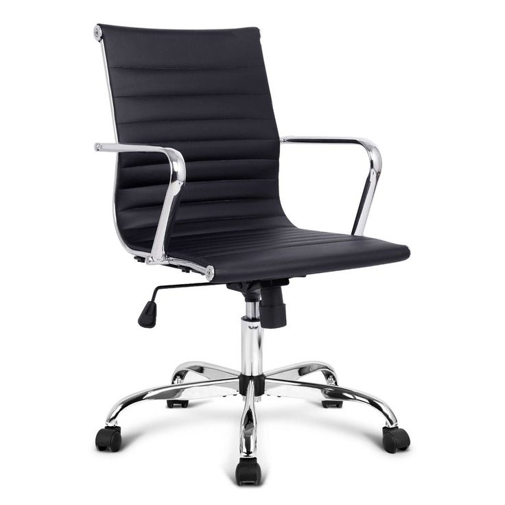 Eames Replica PU Leather Low Back Executive Designer Office Chair-Black