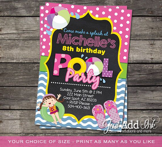 Pool Party Invitation Girl  Swimming Pool Birthday Party