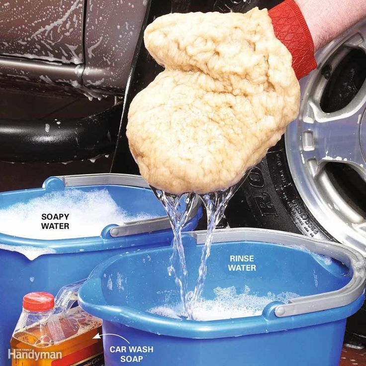 Don't use hand or dishwashing soap - it can shorten the life of your paint job. Instead use a cleaner formulated for vehicles (available at any auto parts store). Use two buckets - a soap and a rinse, to remove road grit from mitt.  When you're finished, throw the mitt in the washing machine to get it completely clean.