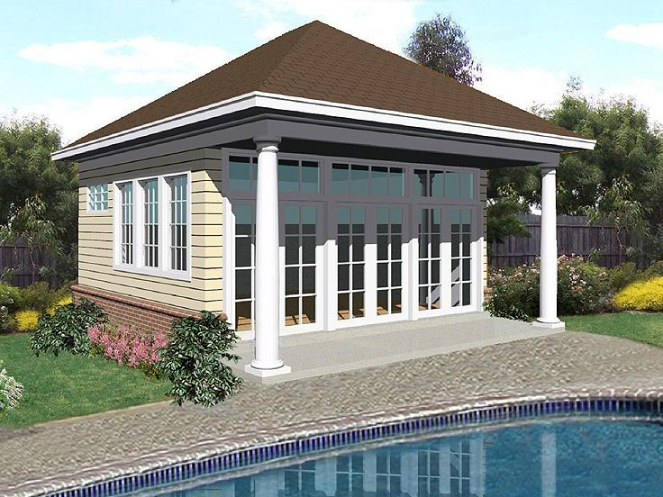 Merveilleux 006P 0009: Pool House Plan With Social Area And Full Bath