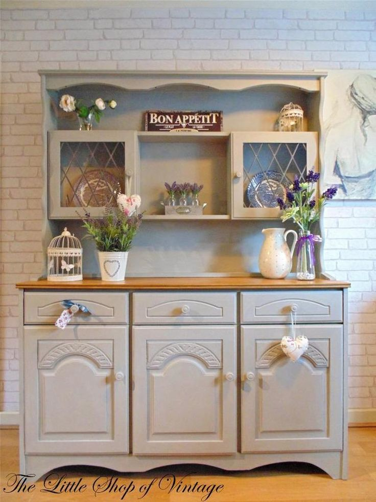 Welsh Dresser Cupboard Cabinet Drawers Shabby Chic Annie Sloan Paris Grey