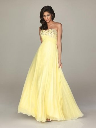 Yellow Strapless Pleated Prom Dress by Night Moves 6237 Cheap.Colors: Yellow, Watermelon, Aqua