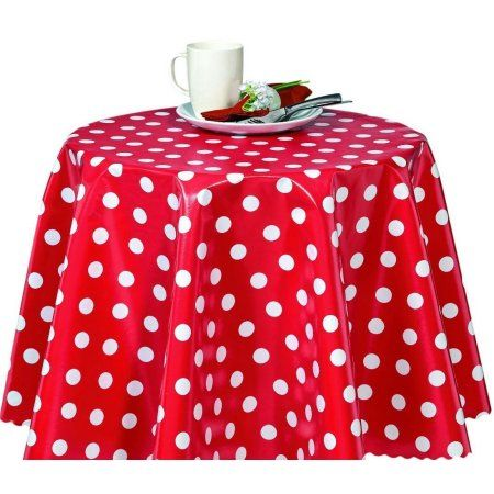 Ottomanson Vinyl Polka Dot Design 55 inch Round Indoor & Outdoor Tablecloth Non-Woven Backing, Red