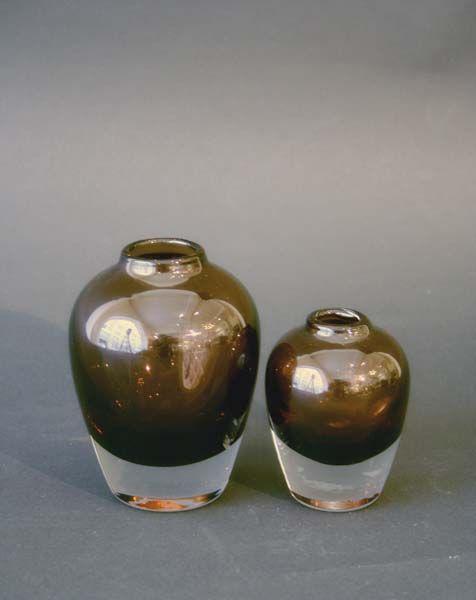 To rustrøde vaser Hadeland, Willy Johansson Munnblåst.