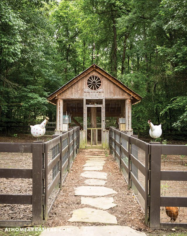 The property's chicken coop was constructed from Eastern cedar logs that were felled from the property. | At Home in Arkansa | March 2016 | A Bountiful Beauty | Outdoor Living