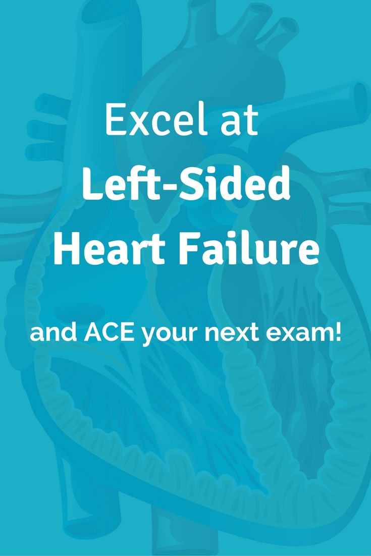 Excel at Left-Sided Heart Failure and Ace Your Next Nursing School Exam! Click through to learn about congestive heart failure pathophysiology and symptoms. | Cardiac | Heart Failure | Nursing School