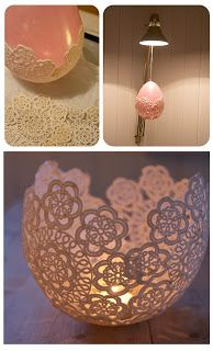 DIY-candle-holders-with-doilie I am pretty sure that I could use paper  doilies and paint them my colors and modge podge them. Yep, I sure could!