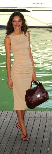 Classic, professional and feminine - tan sleeveless sheath dress - classic, professional, feminine