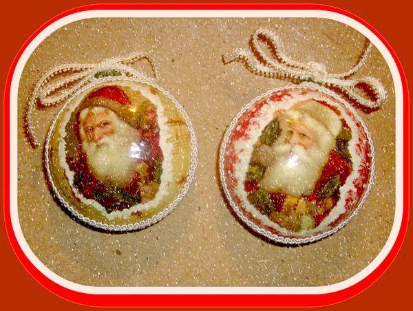Медальоны из гипса новогодние, декупаж
