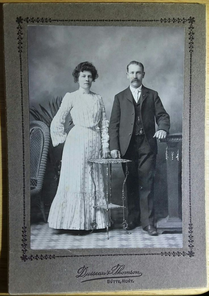 """Wyatt Berry Stapp Earp and Josephine Sarah """"Sadie"""" Marcus Earp. On a cabinet card from the firm of Dusseau and Thomson, who joined forces in April of 1887, Butte, Montana. Look at the way Josie is hiding her right hand, and Wyatt has his left hand prominently displayed. This is highly likely an image taken on the day they married. I will leave it to some one else to head to Butte and look for the actual license. Original image from the collection of P. W. Butler."""