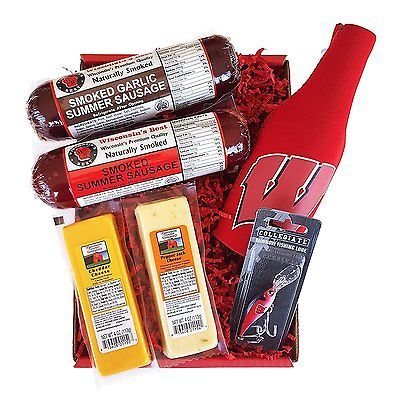 Badger Fan Fishing Gift Basket - features Smoked Summer Sausage,100%...