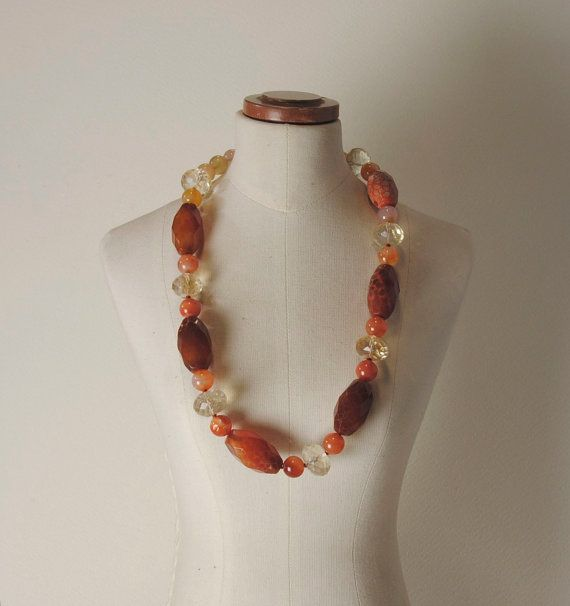 Carnelian Agate, Citrine Quartz and 925% Silver closure necklace