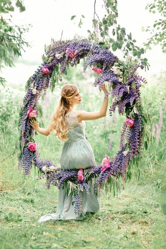 floral wreath wedding ceremony backdrop decor