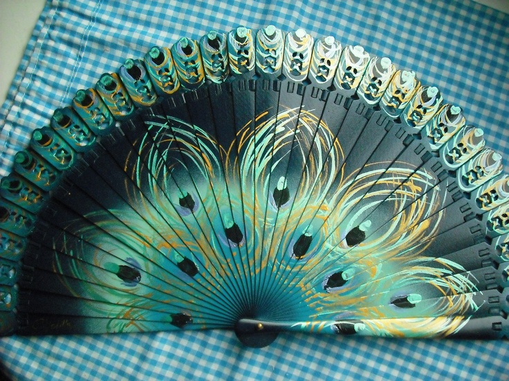 Hand-painted  spanish fan ~ peacock feathers.