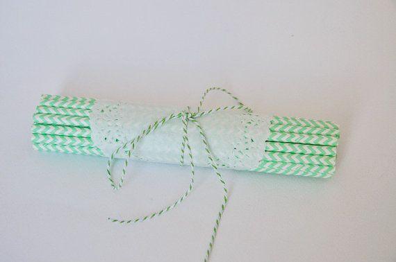 25+Cannucce+di+carta+chevron+verde+acqua+/+Mint+by+Partytude,+€7.50