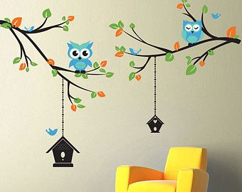 Hanging Vines Wall Decal for Baby Girl Nursery with Flowers