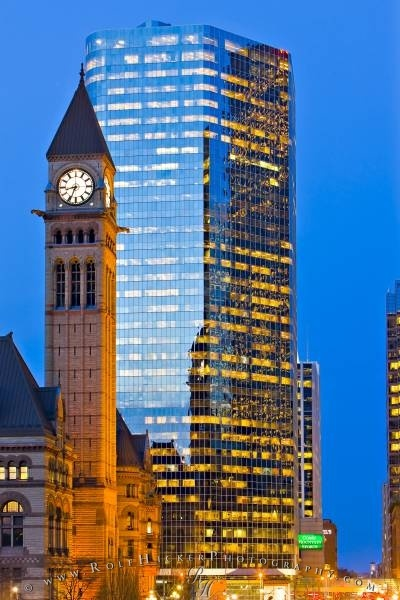 Clock Tower of the Old City Hall and a modern building,Toronto, Ontario, Canada.
