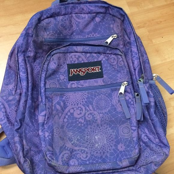 Jansport Big Student Backpack Super adorable purple print on the backpack. 5 compartments with a side pocket to put your water bottle inside. Very roomy and super stylish! Used before, but like brand new. Flaws shown in pictures. please help me raise money for my new wardrobe! (see other photo in my closet) ✔️Pp accepted!✔️ Jansport Bags Backpacks