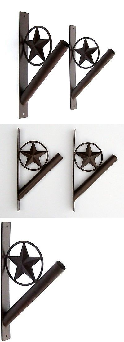 Flag Poles and Parts 43536: Set Of Two Metal Flag Pole Holder Brackets With Stars -> BUY IT NOW ONLY: $32.5 on eBay!