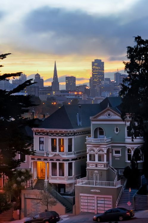 View of the Skyline from Alamo Sq, Western Addition (same park as the credits in 'Full House'!)