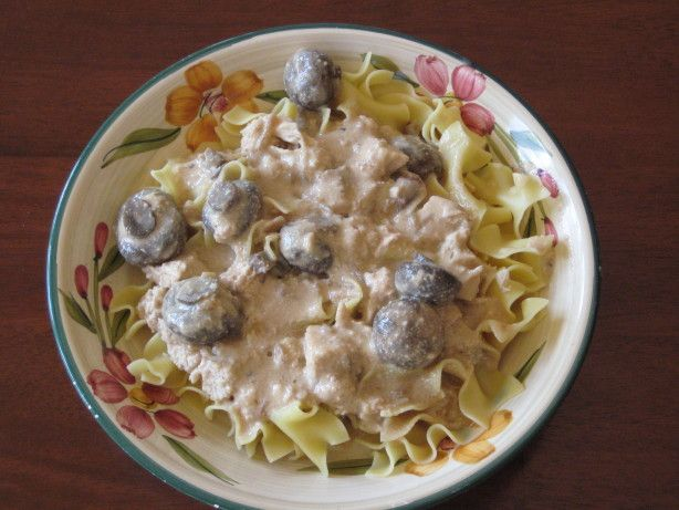 I like this recipe because my family does not like beef stroganoff and this still tastes like stroganoff. Try it out and see for yourself. I got this recipe from a recipe group on Yahoo Groups called Crockpot_Recipes.