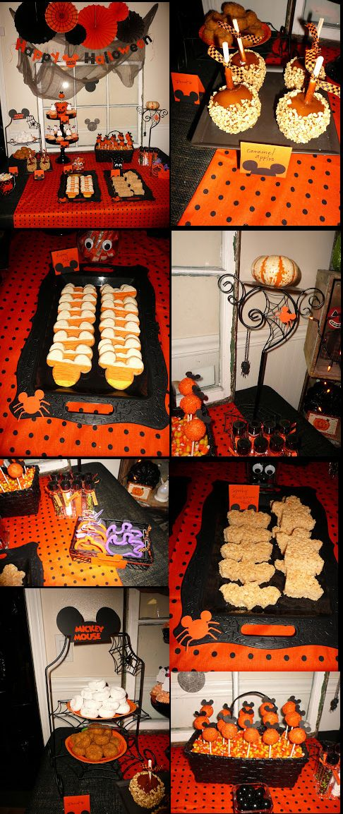 Some great food ideas for a Mickey Mouse Halloween Party.