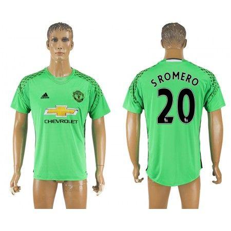Manchester United 16-17 #S.Romero 20 Grøn målmand Hjemmebanetrøje Kort ærmer,208,58KR,shirtshopservice@gmail.com