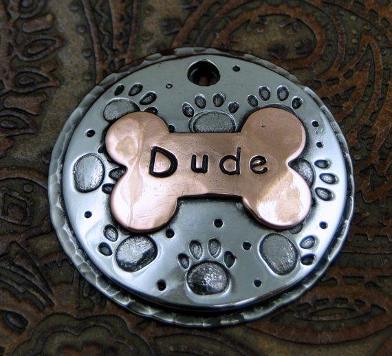 Custom Pet ID Tag Domed Dog Paw ID Tag Dog by IslandTopCustomTags, $24.00