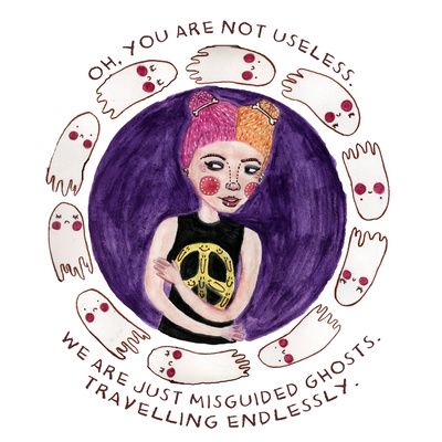 "Really like the lyrics ""WE are just misguided ghosts, traveling endlessly"" with a compass instead of this drawing"