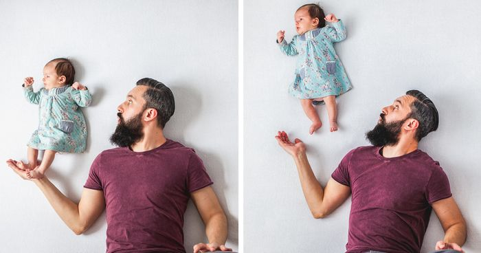 Fun Pictures Of Dad Playing With Newborn Daughter (No Photoshop) | Bored Panda