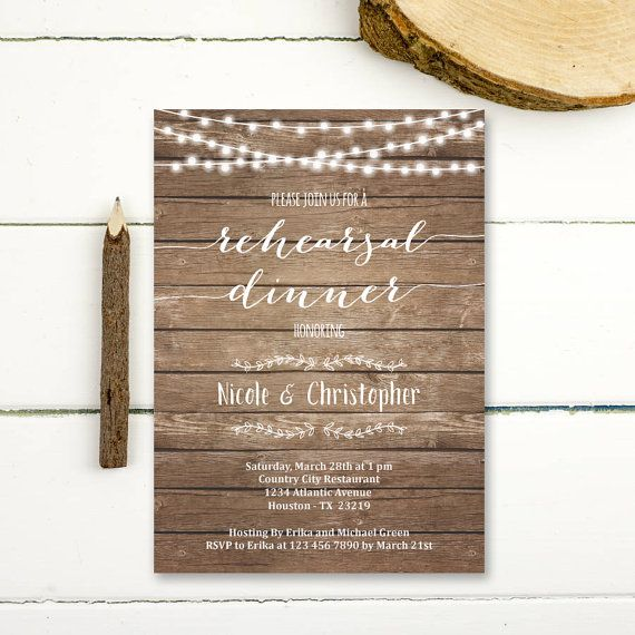Rehearsal Dinner Invitation Printable rustic by PaperPartyDesign
