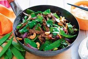 Beef, snow pea and black bean stir-fry