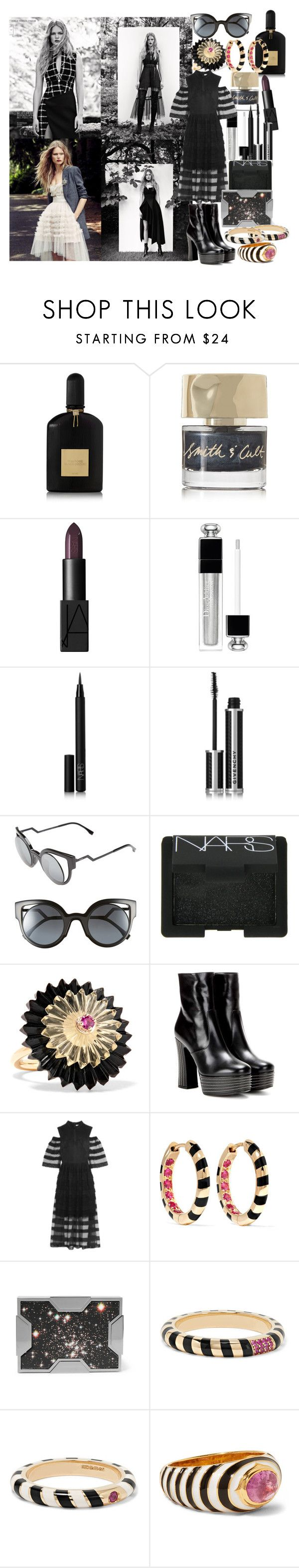 """""""I get drunk on dreams and choke on real life"""" by brownish ❤ liked on Polyvore featuring Tom Ford, Smith & Cult, NARS Cosmetics, Christian Dior, Givenchy, Fendi, Alice Cicolini, Yves Saint Laurent, Vilshenko and Lee Savage"""