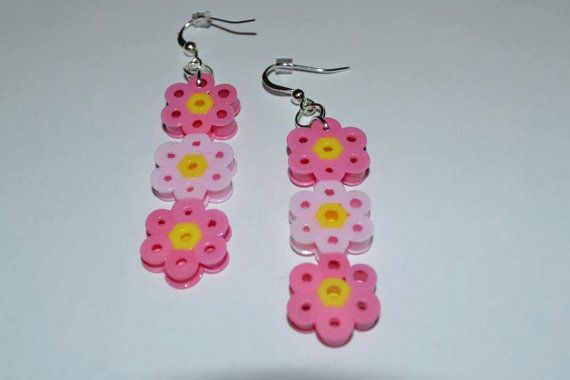 Perler bead flower earrings by PerlerDesignsbyKatie