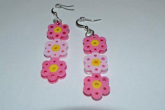 Perler bead flower earrings by PerlerDesignsbyKatie