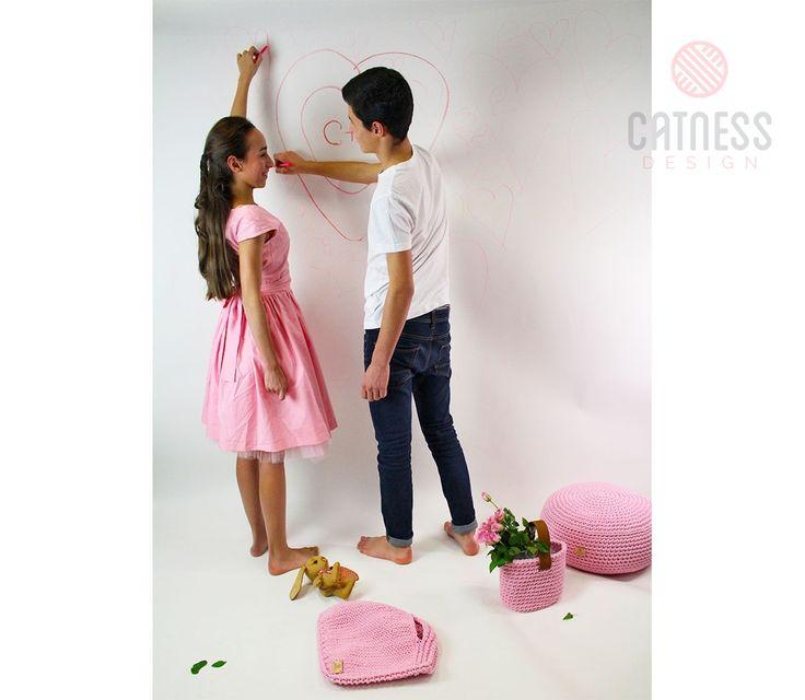 Hand-knitted purse B110 pink | CatnessDesign
