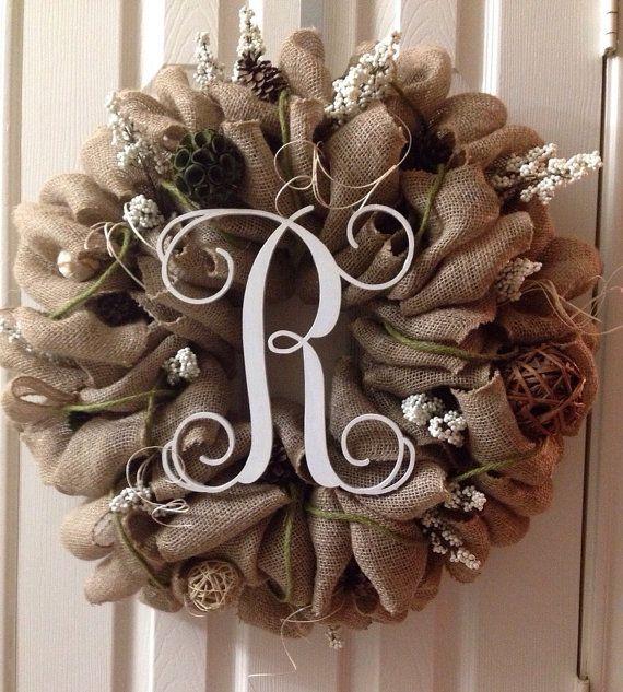 Beautiful Monogram Burlap Wreath, Burlap Wreath, Monogram Wreath, Everyday Burlap Wreath, Decorative Monogram Wreath