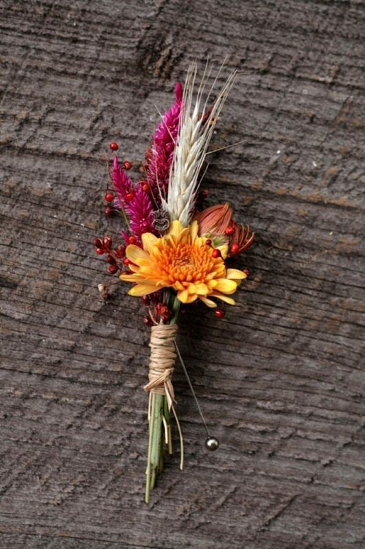 Boutonniere Inspiration--groom's to possibly have a small bloom accented with wedding foliage and textures and groomsmen to be all foliage/textures