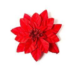 Red Glitter Poinsettia Hair Clip