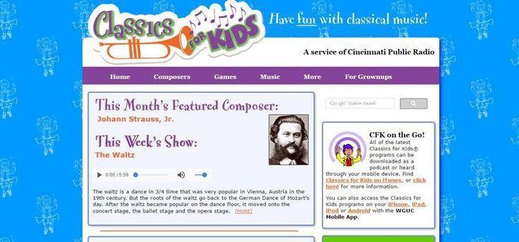 """Site-ul """"Classics for kids"""" este cu totul și cu totul special. Aici găsiți muzică clasică pentru copii, dar și jocuri, care îi ajută pe cei mici să compună propria melodie. O să vedeți că și cei mici vor fi încântați să asculte melodiile lui Strauss, ori Giuseppe Verdi."""