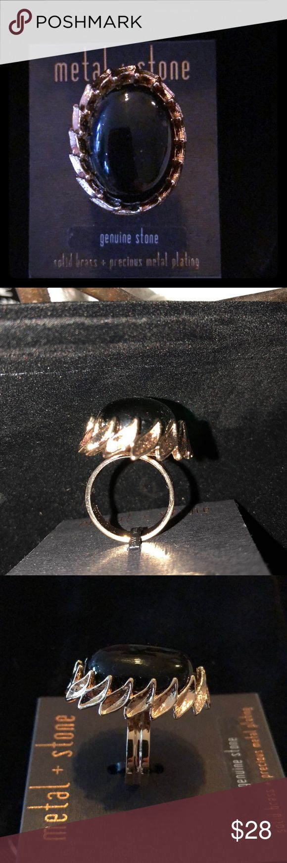 🆕METAL & Stone Genuine Blk Stone on solid Brass 🆕METAL & Stone Genuine Blk Stone on solid Brass - Precious Metal Plating Ring  Size 8 Brand new on card Metal & Stone Jewelry Rings