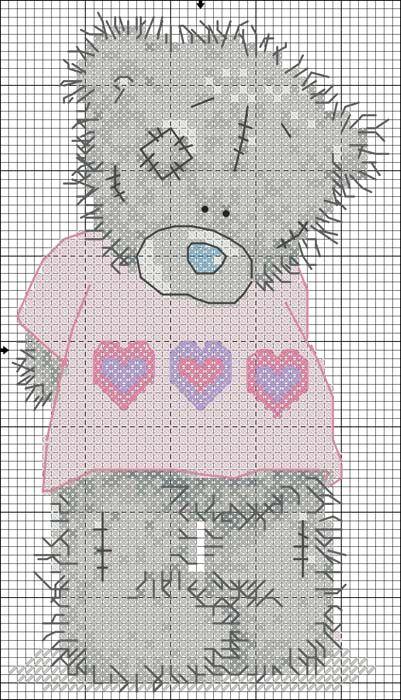 Мишка тедди - маленькая схема вышивки крестиком