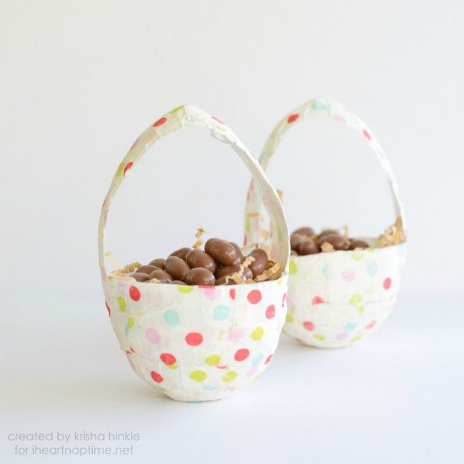 Paper Mache Easter Baskets! Such a fun activity to do with kids this month!!