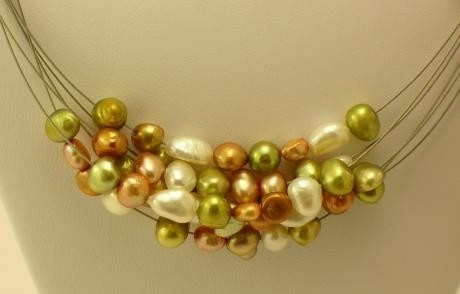 Bridesmaids Wedding Freshwater Cultured Light Green And Copper Pearls On A Multi-Strand Necklace