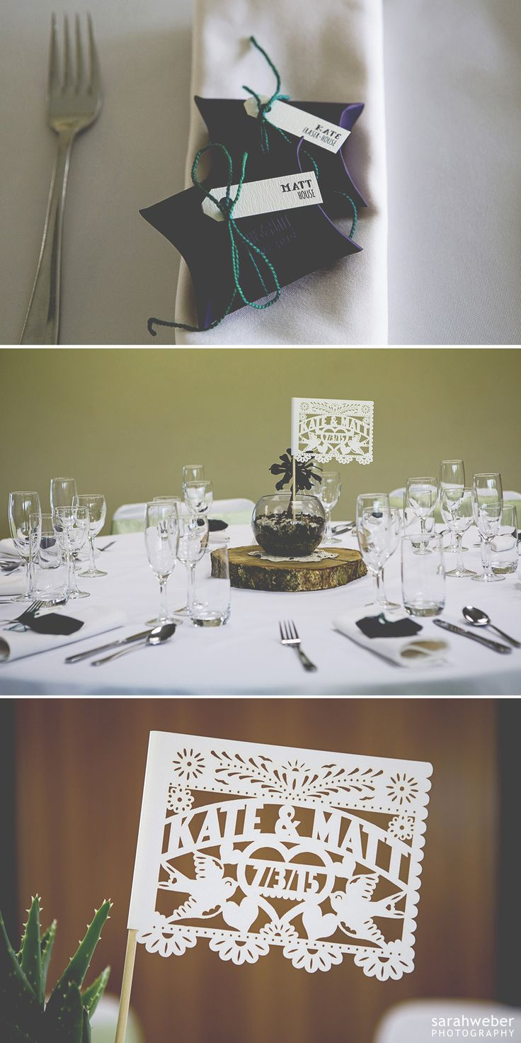Bespoke Wedding Embossed Pillow Boxes and Guest Name Swing Tags. Designed by www.somethingandc... Photo by www.sarahweber.co.nz