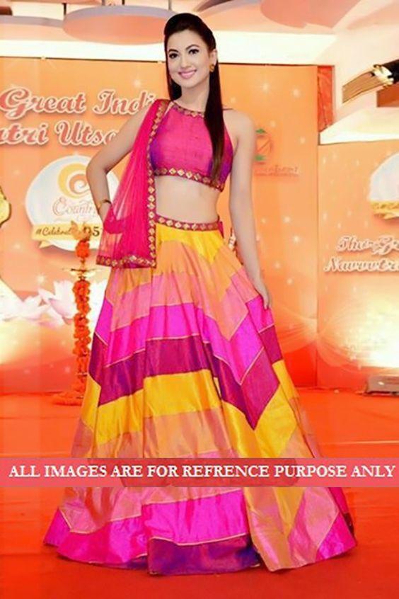 Gauhar Khan Bhagalpuri Silk Lace Work Multicolour Semi Stitched Bollywood Designer Lehenga - 5576: