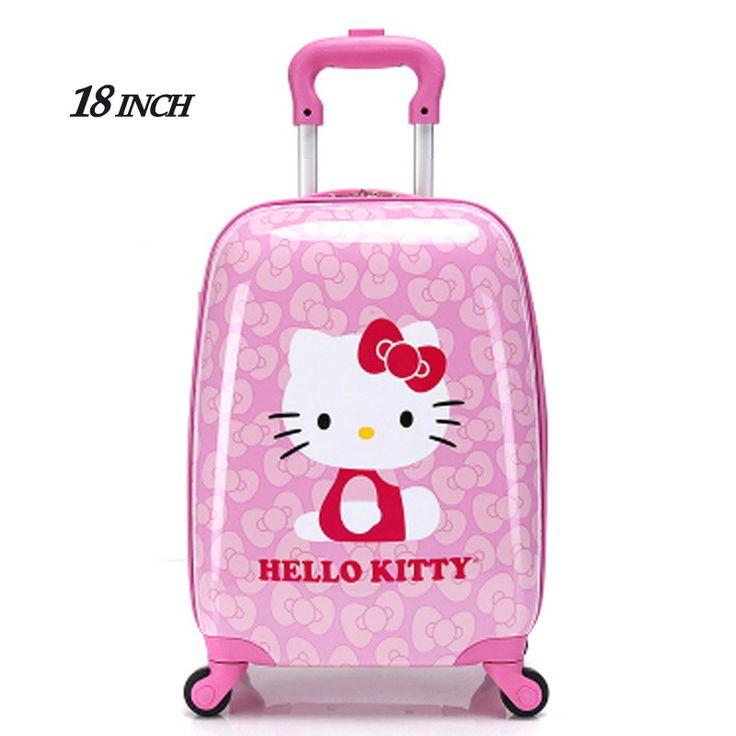 "2016New 18""Girl Children Suitcase Luggage,Child Kid Boy Girl Princess Cat ABS Cartoon trolley case box Traveller Pull Rod Trunk"