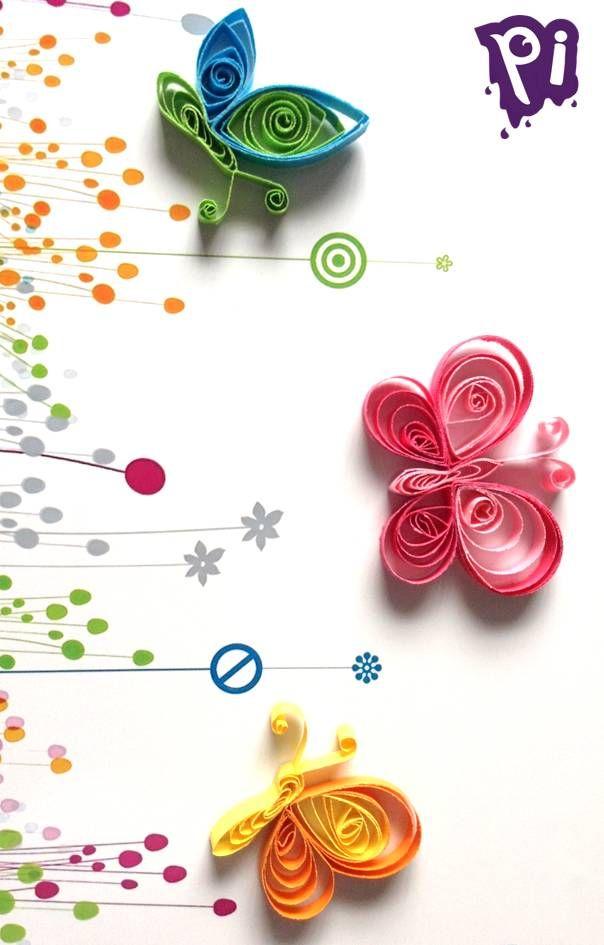 Pintaideas Mariposas de filigrana, Quilling butterfly .... manualidades, bricolaje, DIY, handmade, Decoracion, figuras, Crafts, etc.