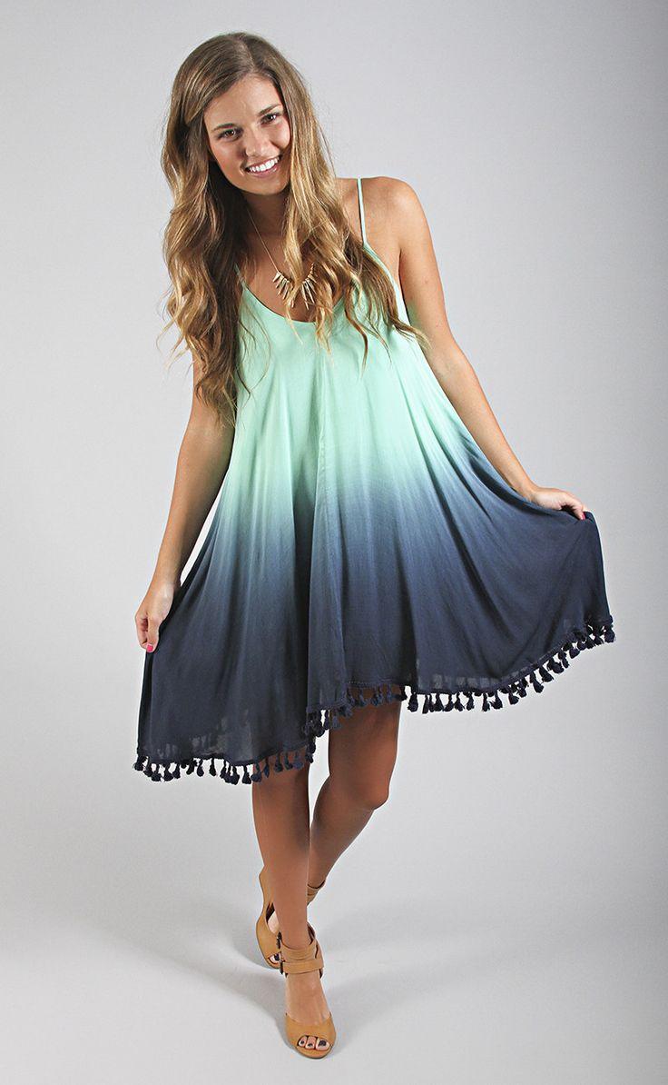 take a trip dip dye dress - mint